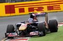 Daniel Ricciardo holds a slide in the Toro Rosso