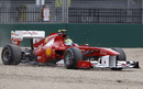Felipe Massa takes to the gravel after misjudging his braking
