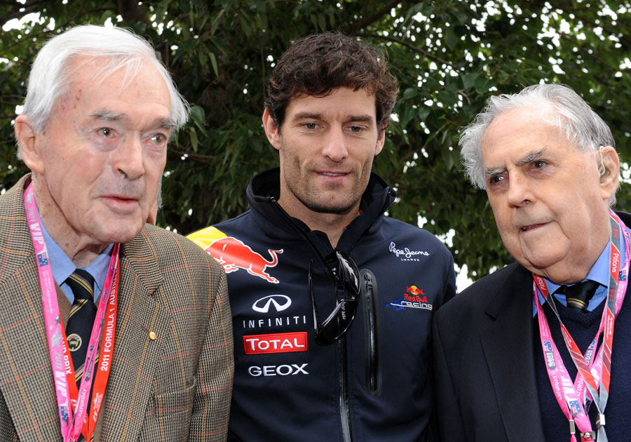 Tony Gaze, Mark Webber and Jack Brabham pose for photos