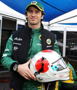 Jarno Trulli with his special race helmet in support of the victims of the Japanese earthquake