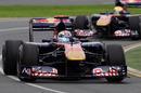Sebastien Buemi leads Jaime Alguersuari in the Toro Rossos