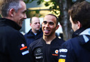 Lewis Hamilton in the paddock with Martin Whitmarsh and Christian Horner