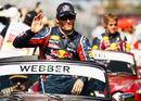 Mark Webber waves to his home fans during the drivers' parade