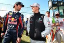 Mark Webber and Michael Schumacher exchange views as Paul di Resta and Lewis Hamilton follow them out to the drivers parade