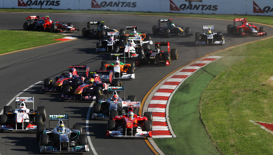 First-lap scramble for position as the Australian Grand Prix gets underway