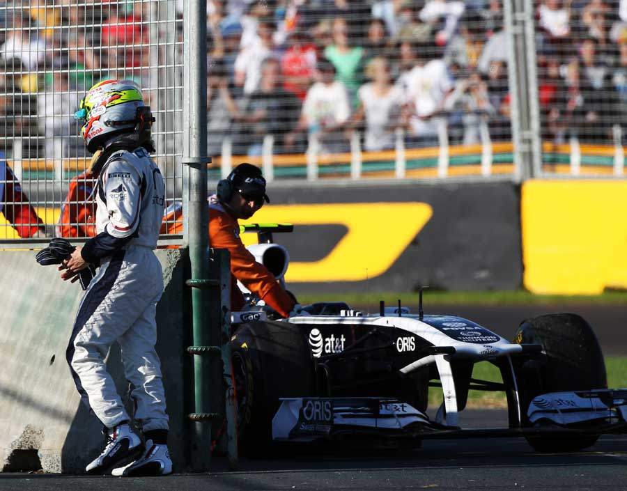 Pastor Maldonado brought his car to a stop early in the race
