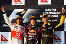Lewis Hamilton, winner Sebastian Vettel and and third-placed Vitaly Petrov take the plaudits
