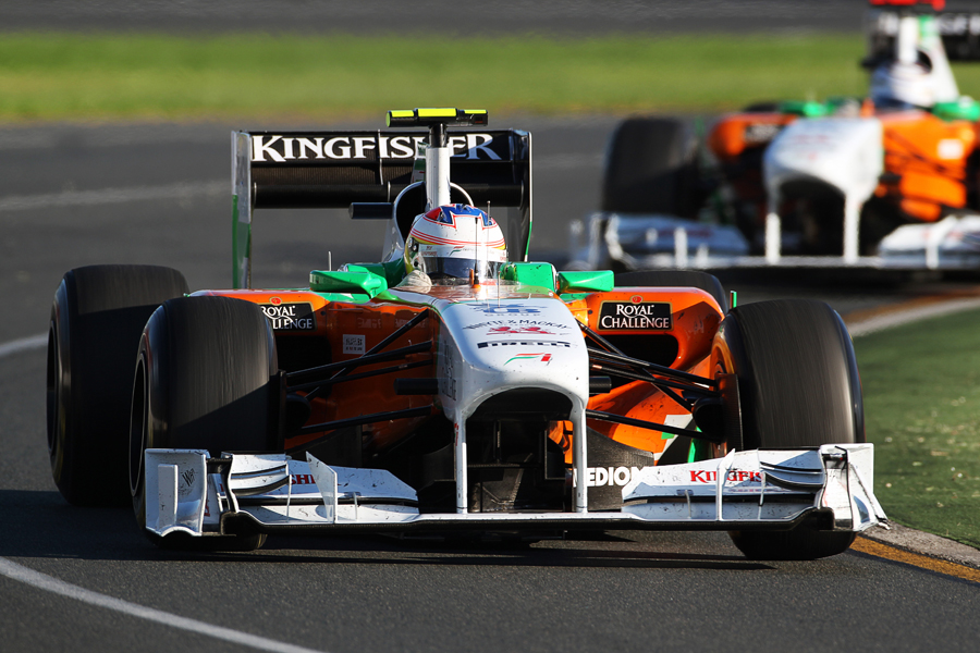 Paul di Resta leads team-mate Adrian Sutil