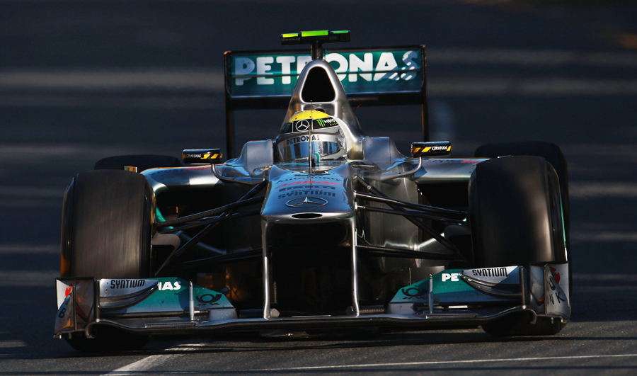 Nico Rosberg in action before he was hit by Rubens Barrichello