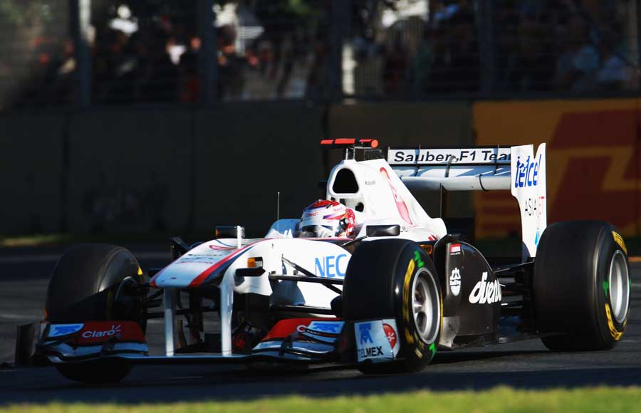 Kamui Kobayashi at the wheel of his Sauber C30, the team were later excluded for a rear wing technical infringement