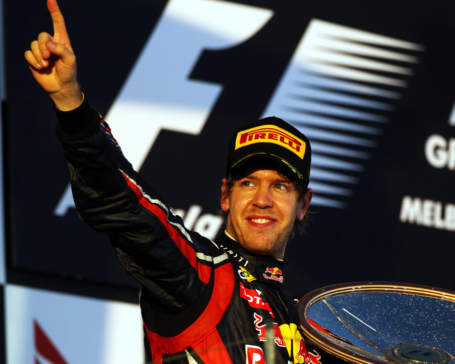 Sebastian Vettel celebrates after his start-to-finish win at Albert Park