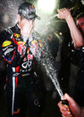 Sebastian Vettel and Red Bull celebrate in style in the Melbourne paddock