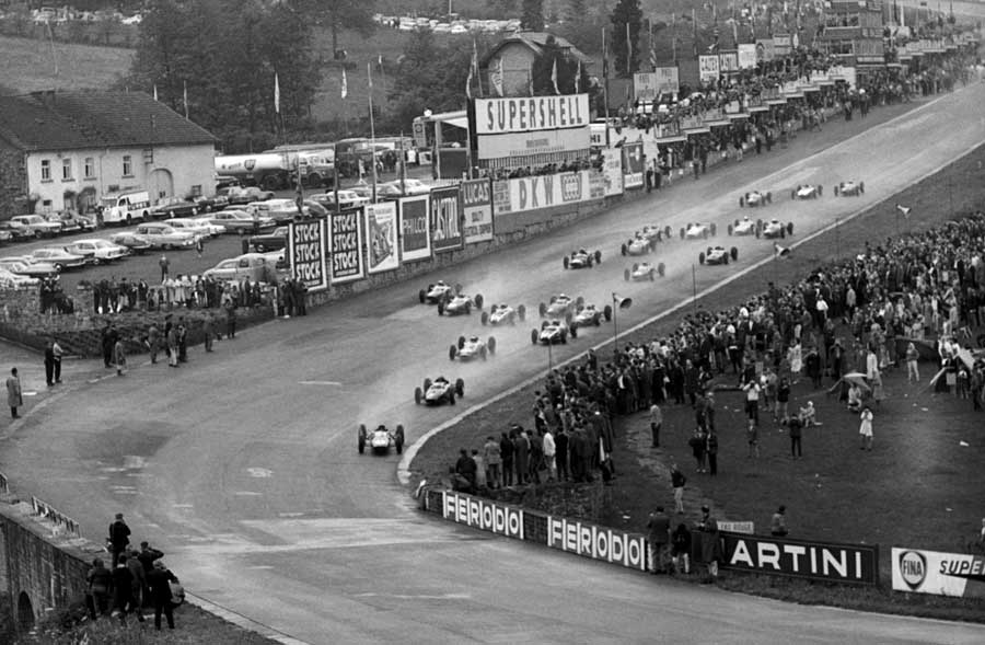 Jim Clark leads the field towards Eau Rouge having started from eighth