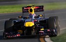 Mark Webber puts two wheels on the astroturf