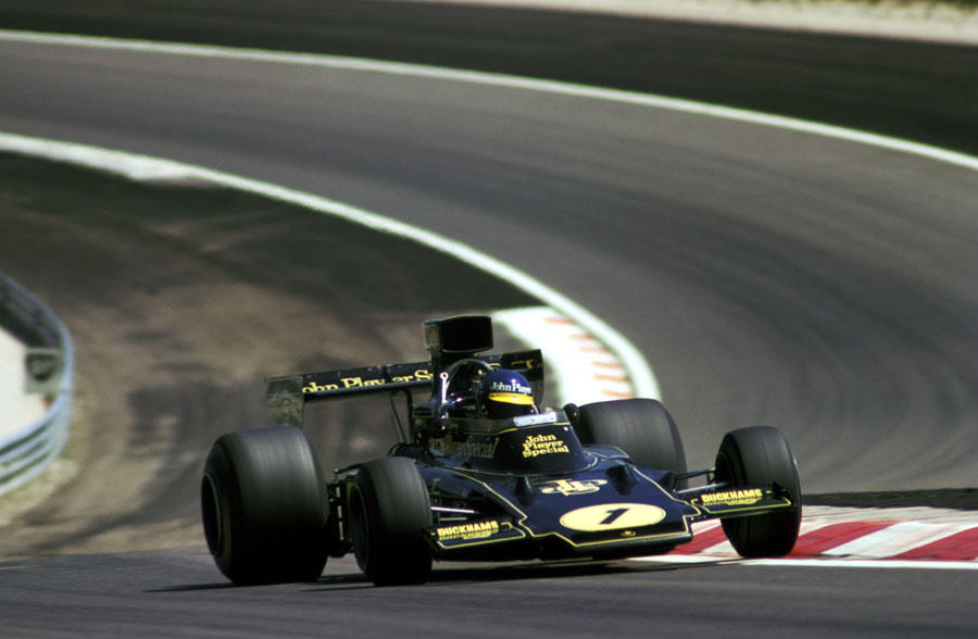 Ronnie Peterson masters the opening part of the circuit on his way to victory