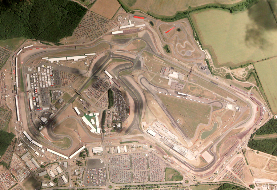An aerial view of Silverstone showing the recent improvements to the facilities