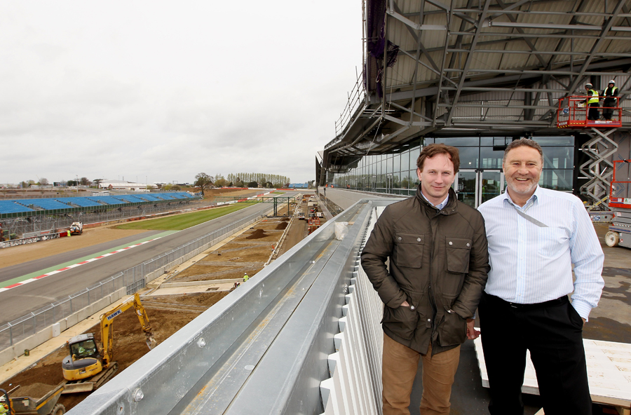 Red Bull boss Christian Horner and Silverstone MD Richard Phillips during a media tour of the Silverstone Circuit