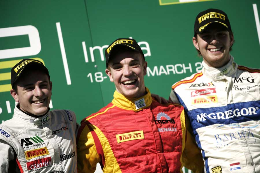 Dani Clos celebrates on the podium with Fabio Leimer and Giedo van der Garde