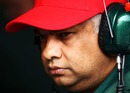 Tony Fernandes on the pit wall