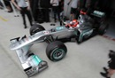 Michael Schumacher leaves the Mercedes garage