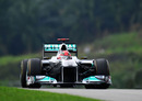 Michael Schumacher on a hot lap in the Mercedes