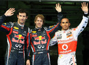 The top three in qualifying wave for the cameras
