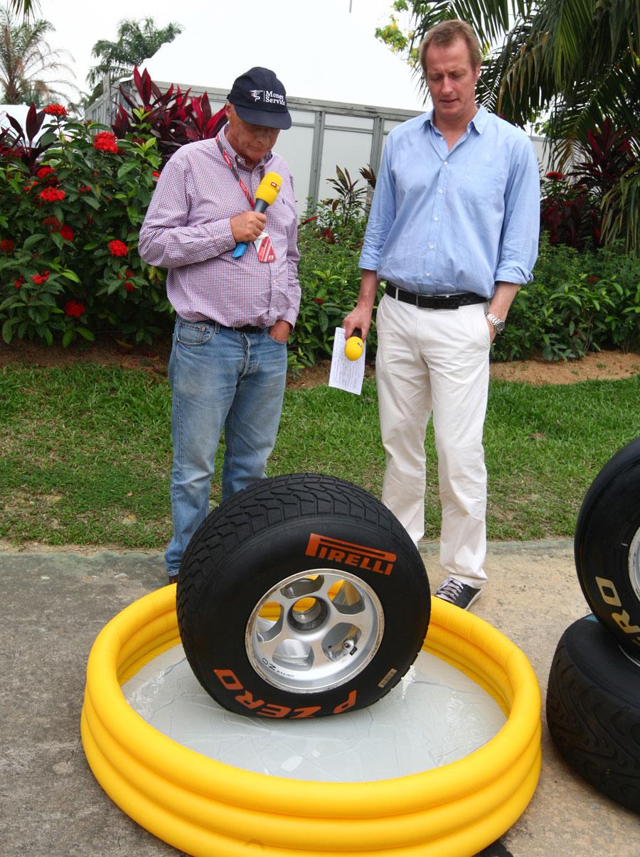 Niki Lauda demonstrates the Pirelli wet tyre for German TV
