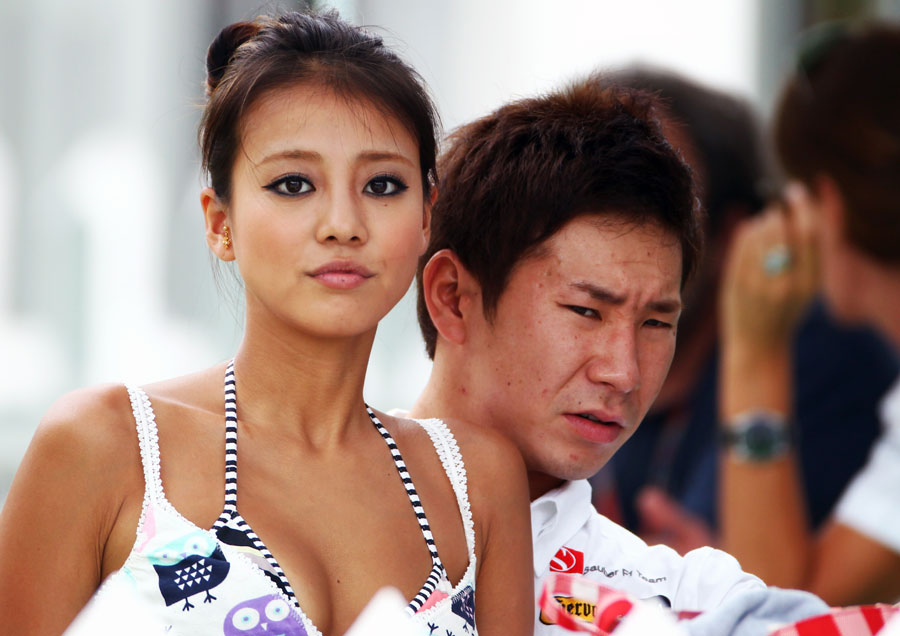 Kamui Kobayashi with girlfriend Yu Abiru