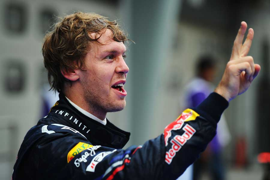 Sebastian Vettel celebrates his second win of the season