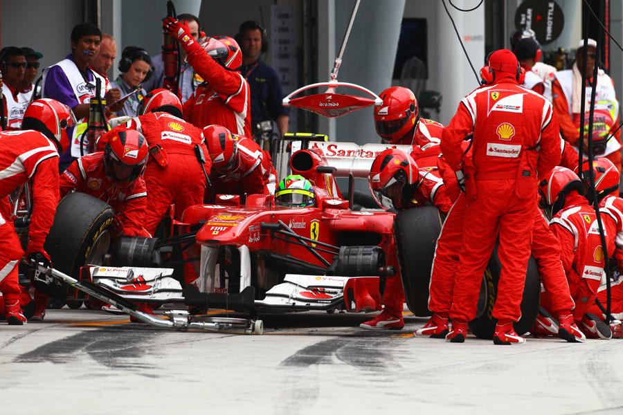 Felipe Massa makes a pit stop