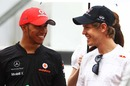 Lewis Hamilton and Sebastian Vettel share a joke