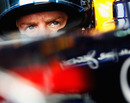 Sebastian Vettel in the cockpit of the Red Bull RB7