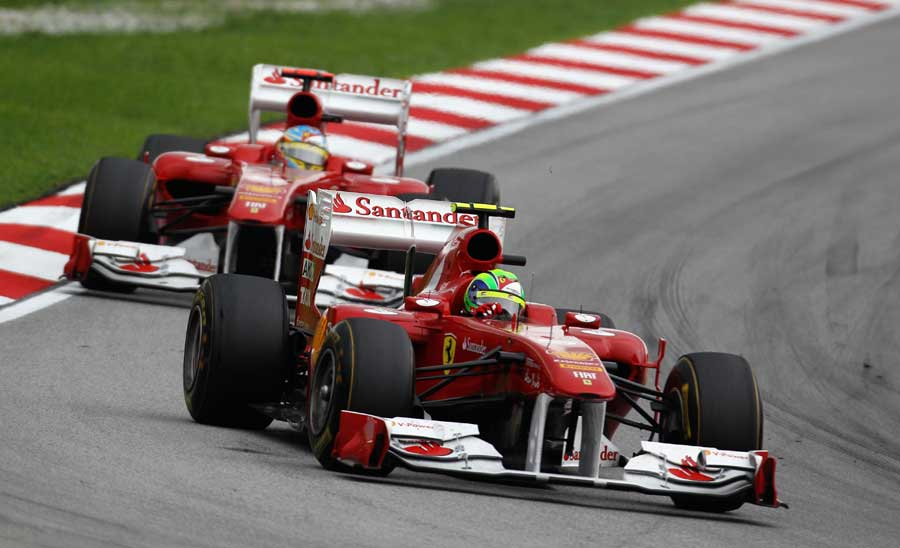 Felipe Massa heads Fernando Alonso