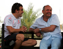 Fernando Alonso and McLaren boss Ron Dennis chat in the paddock