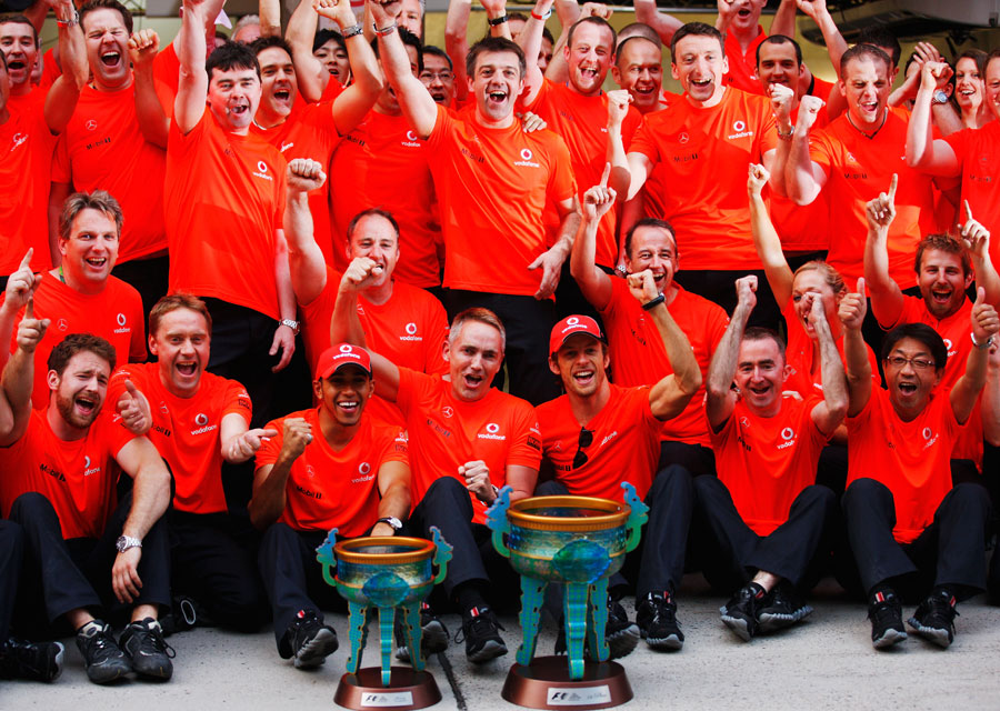 McLaren celebrate Lewis Hamilton's win in the pit lane