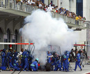 Felipe Massa's Sauber burns in the pits
