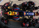 Mark Webber pits for a new set of soft tyres