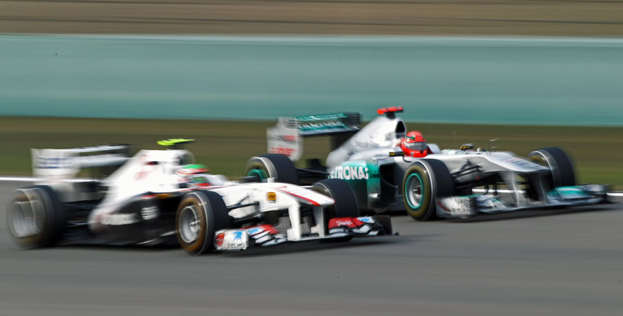 Sergio Perez takes on Michael Schumacher
