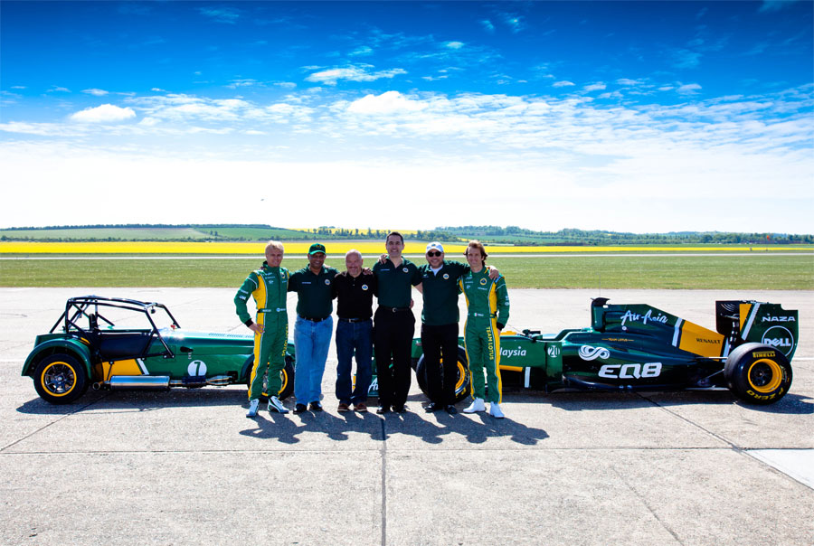The Lotus team at the announcement of Tony Fernandes' purchase of Caterham