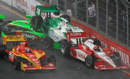 Helio Castroneves, Danica Patrick, and Simona De Silvestro crash during the start of the IndyCar's Sao Paulo 300