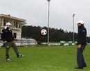 Tonio Liuzzi and Narain Karthikeyan show off their football skills at the Besiktas Football Club training ground