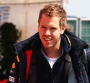 Sebastian Vettel arrives at the circuit on Sunday morning,