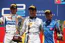 Race winner Stefano Coletti on the podium with Geido van der Garde and Sam Bird