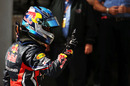 Sebastian Vettel celebrates in Parc Ferme