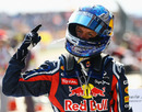 Sebastian Vettel celebrates his victory in front of the cameras