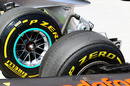 Pirelli tyres on a McLaren and a Mercedes
