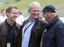 Sebastian Vettel, Helmut Marko and Niki Lauda share a joke