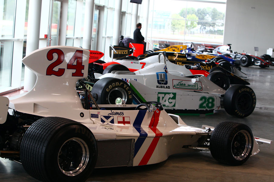 Classic F1 cars on display at the opening of the new Wing complex