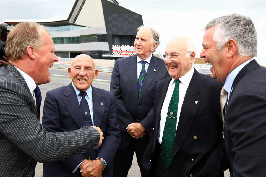 Johnny Herbert, Sir Stirling Moss, John Watson, Murray Walker and Derek Warwick share a joke