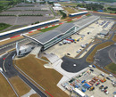 An aerial view of Silverstone's new pit and paddock complex